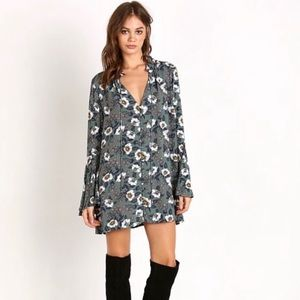 Free People Floral Bell Sleeve Tunic Top | Sz M